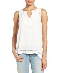 Crochet neck split back sleeveless top medium 1211552