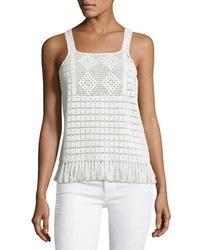 Zaylee crochet sleeveless fringe hem top white medium 1211550