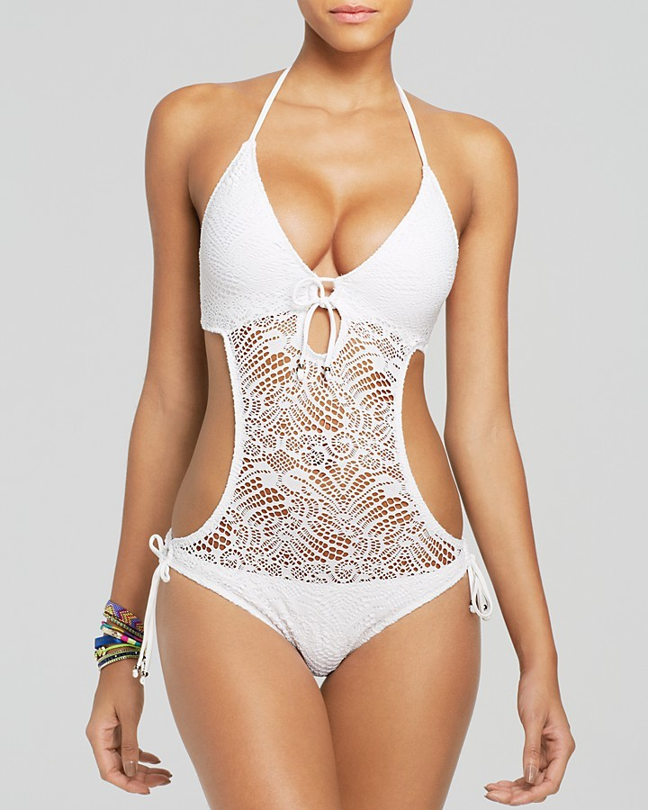 Polo Ralph Lauren Crochet Monokini One Piece Swimsuit 117