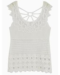White Crochet Tank
