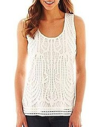 jcpenney Ana Crochet Front Tank Top