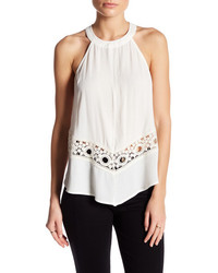 Astr The Label High Neck Crochet Tank