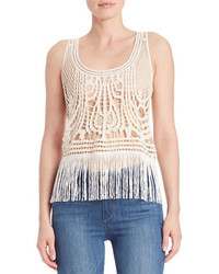 California Moonrise Fringed Crocheted Lace Tank Top