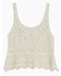 Choies Crochet Lace Vest With Wavy Hem