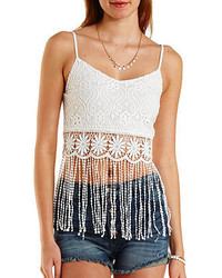 Charlotte Russe Crocheted Lace Fringe Crop Top