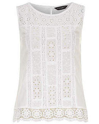 Dorothy Perkins White Crochet Hem Shell Top