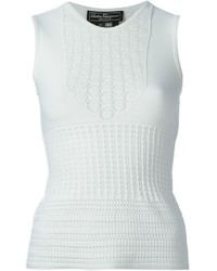 Salvatore Ferragamo Crochet Knit Tank Top