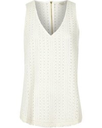 River Island White Crochet Tank Top