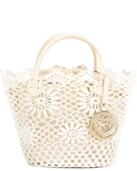 White Crochet Tote Bag