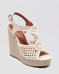 White Crochet Wedge Sandals
