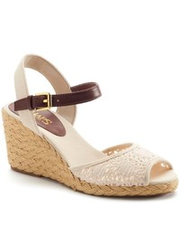 Chaps Damara Slingback Crochet Espadrille Wedge Sandals