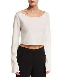 A.L.C. Leandra Raw Edge Cropped Sweater White