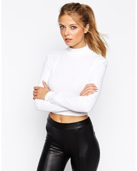 Asos Collection Turtleneck Crop Top In Rib