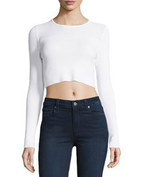 Cropped Knit Sweater White