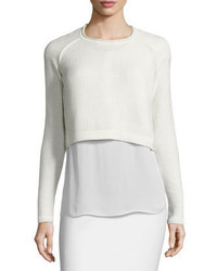 Elie Tahari Giada Cropped Sweater Silk Blouse