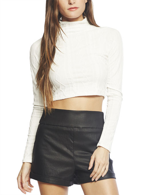 Arden B Long Sleeve Cable Knit Crop Top | Where to buy & how to wear