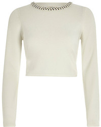 River Island White Fitted Pearl Trim Crop Top