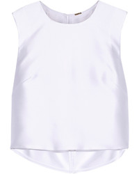 ADAM by Adam Lippes Adam Lippes Cropped Pleated Satin Twill Top Ivory