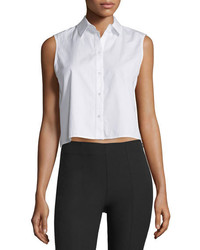 Alexander Wang T By Cropped Boxy Poplin Top White