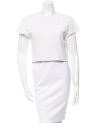 Alice + Olivia White Textured Crop Top