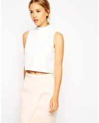 Asos Collection Sleeveless Crop Top In Texture With High Neck