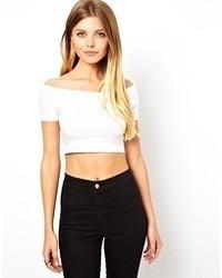 Asos Bardot Crop Top White