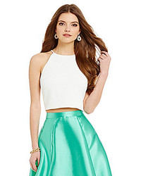 Belle Badgley Mischka Nora High Neck Crop Top