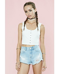 Forever 21 Button Front Ribbed Crop Top