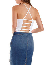 Charlotte Russe Caged Back Racer Front Crop Top