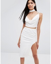 Missguided Cowl Neck Crop Top With Choker Detail
