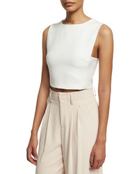 Alice + Olivia Cressida Sleeveless Cropped Top White