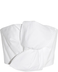 DELPOZO Cropped Bow Embellished Cotton Poplin Top