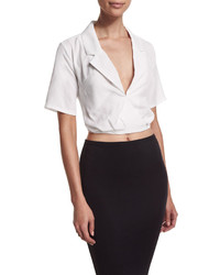 Cropped Tie Back Wrap Blouse White