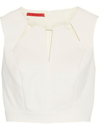 Tamara Mellon Cutout Stretch Cotton Blend Cropped Top