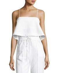A.L.C. Easton Flared Hem Poplin Crop Top White