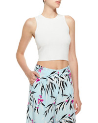 Elizabeth and James Cropped Jacquard Tank White