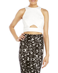 Badgley Mischka Embroidered Peek A Boo Crop Top