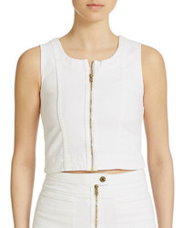 7 For All Mankind Front Zip Cropped Denim Tank Top