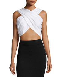Ftb By Fade To Blue Cropped Tie Back Poplin Tank White