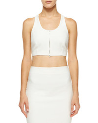 Elizabeth and James Harlow Cropped Zip Front Top White