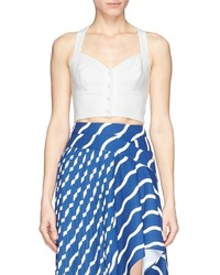 Helen Lee Cross Back Piqu Cropped Top