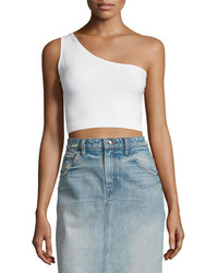 Helmut Lang One Shoulder Cropped Stretch Knit Bra Top Optic White