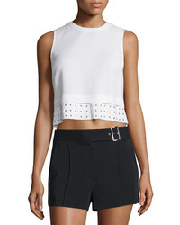 A.L.C. Henson Crepe Eyelet Crop Top White