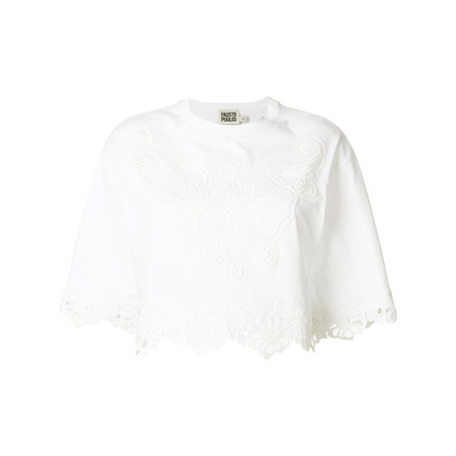 0b9fb33a0a19e ... White Cropped Tops Fausto Puglisi Macram Insert Cropped Top ...