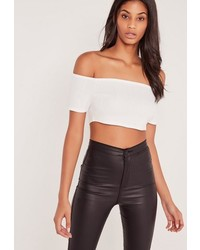 Missguided Bardot Bandage Crop Top White