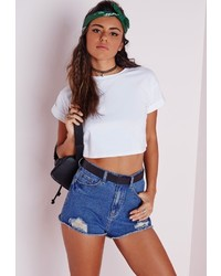 Missguided Roll Sleeve Cotton Crop Top White