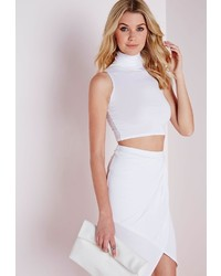 Missguided Sleeveless Roll Neck Crop Top White
