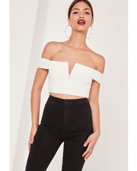 Missguided V Bar Bardot Crop Top White