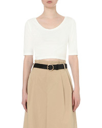 mo&co. Scoop Back Cotton Blend Cropped Top
