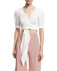 Alexis Noly Cropped Silk Blend Wrap Top White